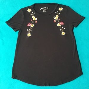 Soft Black Embroidered Tee